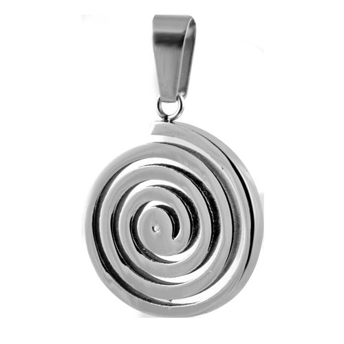 Stainless Steel Circular Pendant with Spiral Symbol Engraved