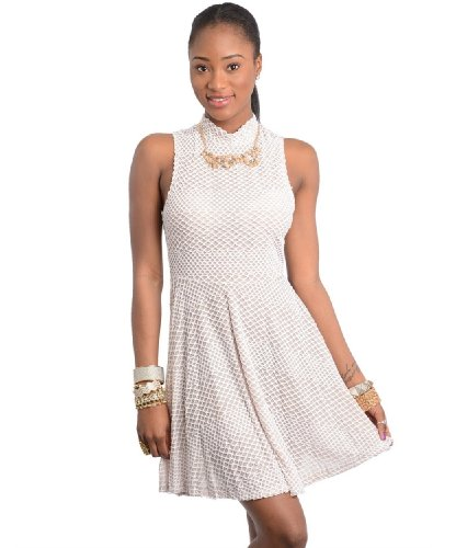 2Luv Women'S Mock Neck Fit And Flare Dress White S(Dh8868)