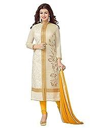 Metroz Women's Cotton Salwar Suit Dress Material (ASTRD333_Beige)