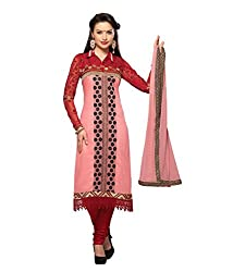 Monalisa Fabrics Women's Unstitched Dress Material (22221006_Pink_Free Size)