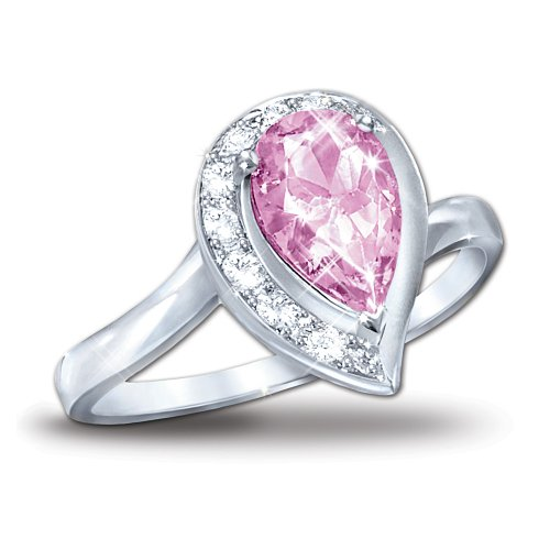 Pear-Shaped Topaz Journey Ring: Lovely In Pink by The Bradford Exchange