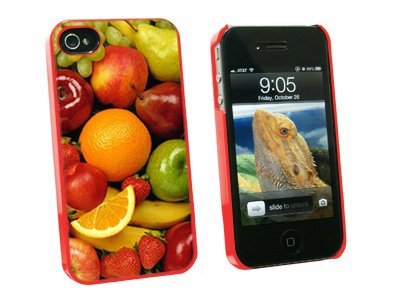 Fruit Bowl #2 - Grapes Apples Strawberries Oranges - Snap On Hard Protective Case for Apple iPhone 4 4S - Red