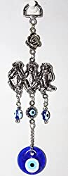 Odishabazaar Blue Evil Eye Wise Monkey Design Hanging Ornament