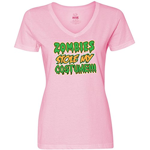 Inktastic Zombies Stole My Costume!!! Women's V-Neck T-Shirts
