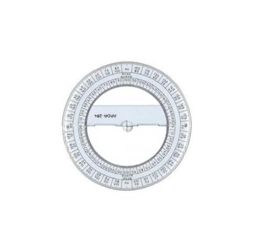 Arda - Goniometro a 360 ° 12 centimetri linea uni - regola (polistirolo, trasparente, 120 mm)