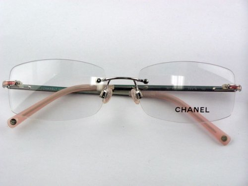 Chanel Rimless Eyeglass Frames : Authentic Chanel 2073 c.251 Silver Pink Rimless Eyeglasses ...