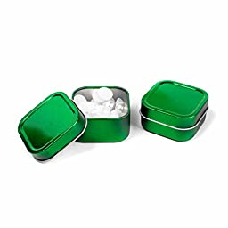 Craft Clouds 4oz Empty Shallow Seamless Square Cube Favor Tins for Crafts and Storage (12, Green)