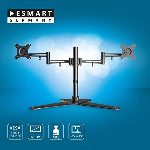 esmart germany 2 arm tv monitor tischstnder 25 76 cm 10 30 neigbar vesa 75x75 bis 100x100. Black Bedroom Furniture Sets. Home Design Ideas