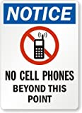 "Notice - No Cell Phones Beyond This Point (with No Mobile Graphic), HDPE Plastic Sign, 10"" x 7"""