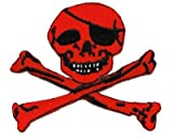Skull and Crossbones Red Iron on Patch