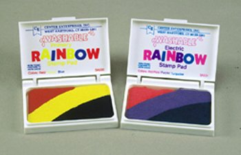 Stamp Pad Rainbow Primary 3 Colors Washable -- Case of 5
