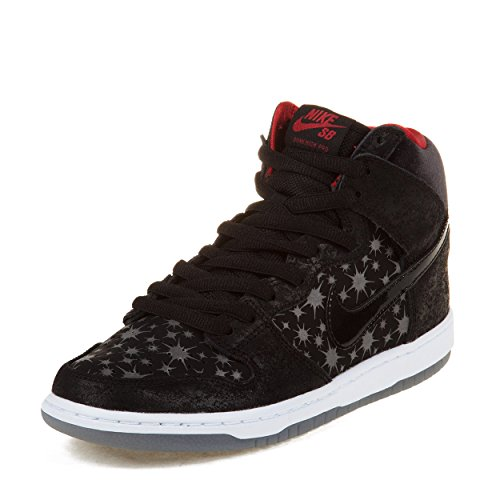 "Nike Mens Dunk High Premium Sb ""Paparazzi"" Black/Black-Valiant Red Suede Skateboarding Size 9"