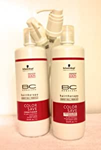 Schwarzkopf BC Bonacure Hair Therapy Color Save Shampoo and Conditioner Liter Duo, 33.8 oz each
