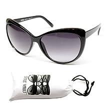 Wm29-vp Cat Eye Cateye 60s Vintage Retro Classic Fashion Sunglasses (black w pouch, UV400)