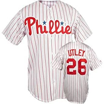 Chase Utley Phillies Pinstripe MLB Replica Jersey - Size 52 - XL