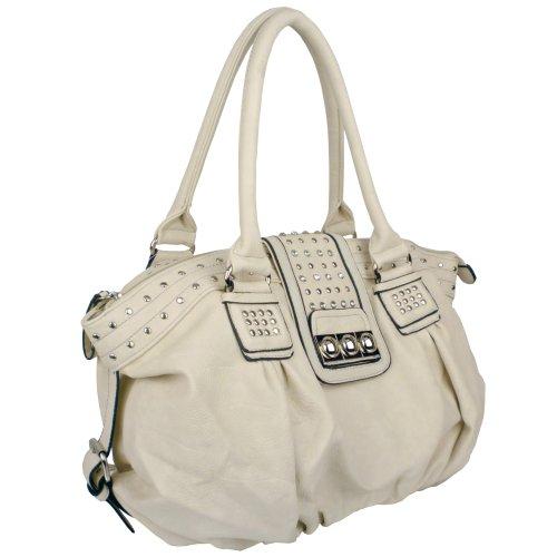 MG Collection Metal Studded Soft Leatherette Shopper Hobo Shoulder Bag