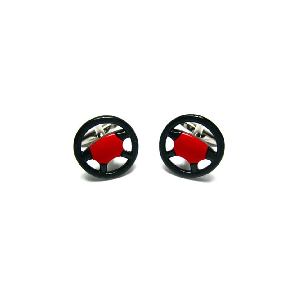Black & Red Car Truck Racing Steering Wheel Cufflinks w/Gift Box Cuff Links Jewelry