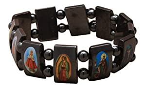 2100 Haematite Dark Grey All Saints Bracelet. Jesus Catholic Religion New