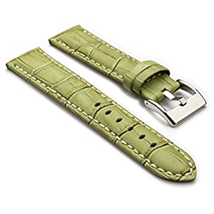 StrapsCo Premium Green Croc Embossed Leather Watch Strap size 22mm