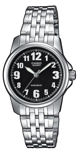 Casio LTP-1260D-1BEF Ladies Watch Quartz Analogue Black Dial Silver Steel Strap