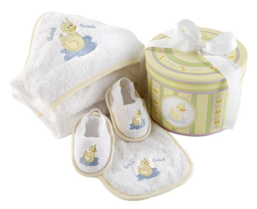 Baby Aspen Dilly the Duck 4-Piece Bath Time Gift Set in Decorative Hat Box