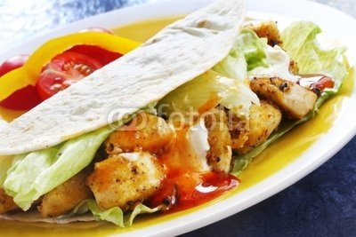 """Wallmonkeys Peel and Stick Wall Decals - Soft Tacos with Spicy Chicken, Salad and Sour Cream. - 18""""W x 12""""H Removable Graphic"""