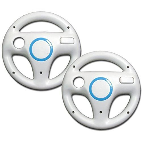 Simtyso White Mario Kart Racing Wheel for Nintendo Wii Remote Games Pack of 2 (The Game Mario)