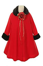 Cozy Fleece Long Sleeve Cape Jacket Coat - Red Girl 12