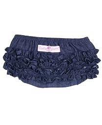 RuffleButts® Infant / Toddler Girls Denim Ruffled Diaper Cover - Denim - 18-24m
