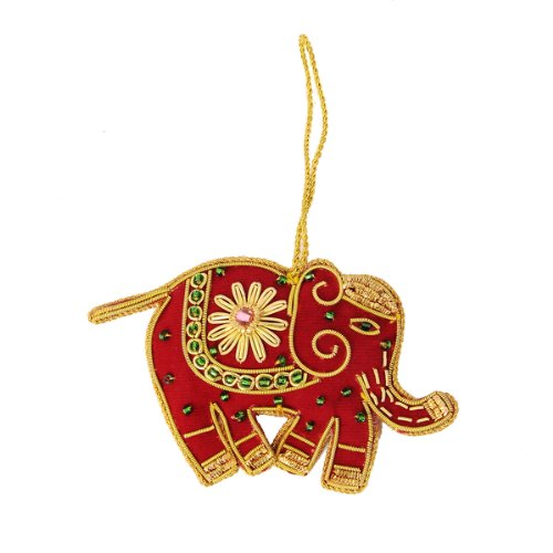 Handcrafted Beaded Elephant Holiday Tree Ornament by Sitara Collections