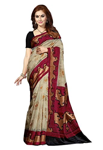 ISHIN Bhagalpuri Silk Beige & Red Printed Women's Saree.  available at amazon for Rs.499
