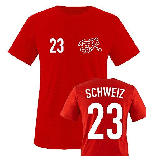 EM 2016 – TRIKOT – EM 2016 – SCHWEIZ – 23 – Kinder T-Shirt – Rot / Weiss Gr. 122-128