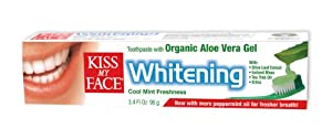Kiss My Face Aloe Vera Gel Whitening Toothpaste, 3.4-Ounce Tubes (Pack of 6)