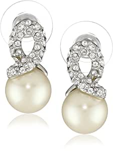"""Carolee """"Elegant Bride"""" White Pearl with Silver-Tone Pave Crystal Knot Earrings"""