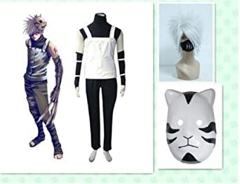 Naruto Kakashi Anbu Cosplay Costume New Outfit with Wig&mask 2013052915
