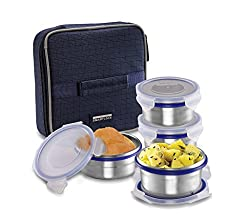 Smart lock Classic Steel Airtight Tiffin pack with insulated Bag, 200 ml, Silver, Set of 4