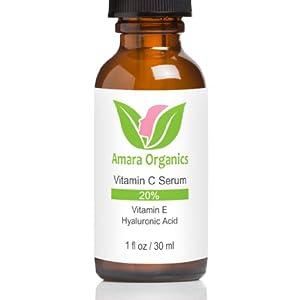 Amara Organics Vitamin C Serum for Face 20% - With Vitamin E & Hyaluronic Acid - Best Natural & Organic Ingredients - 1 oz