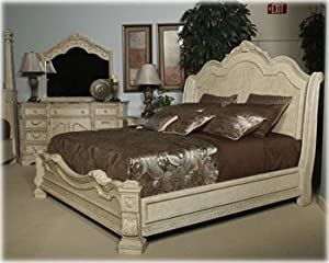 ashley ortanique king sleigh bed in old world in white