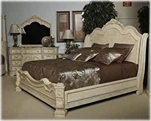 Ashley Ortanique King Sleigh Bed in Old World in White Washed