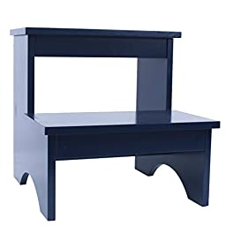 Single Piece Classic Blue Kids Step Stool, Wood Material, Grabbing Things Off The Top Shelf, Classic Wooden Construction Of This Is Sturdy And Delightful, Incredibly Useful And Fun