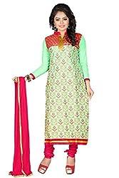 JHEENU Green Women's Cotton unstitched Straight Salwar Suit dress material