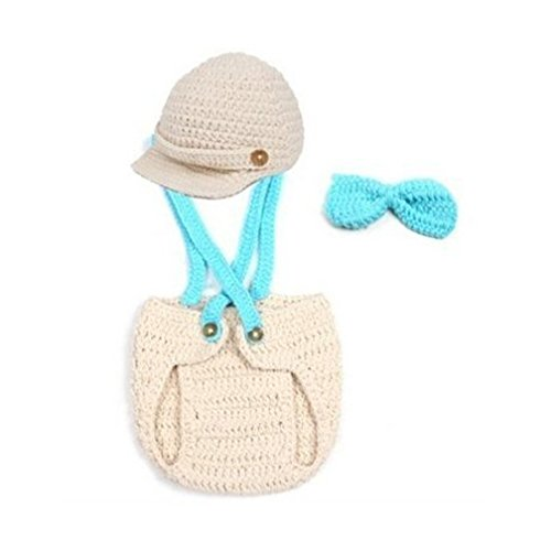 Crochet Baby Boy Cap Beanie With Suspenders Bowtie Diaper Outfit Photo Props