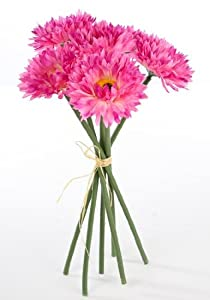 Package of 3- Petite Silk Imitation Ultra Pink Daisy Mum Bouquets, 18 Total Blooms (6 Blooms Per Bunch) for Weddings, Centerpieces and More