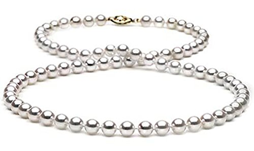 14kt Gold - Cultured Japanese Akoya Saltwater Pearl Necklace 6.5-7mm Pearls 22