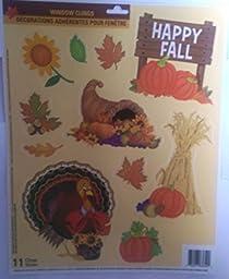Fall Harvest Happy Fall Glitter Window Clings ~ Happy Fall, Pumpkins, Sunflower, Turkey, Cornucopia, Straw, Autumn Leaves (1 Sheet, 11 Clings)