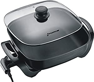 "GForce GF-P1395-896 12"" Non-Stick Electric Skillet Frying Pan With Tempered Glass Lid 1250 Watts"