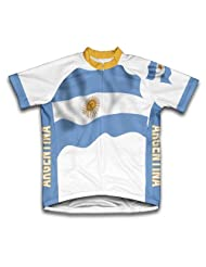 Argentina Flag Short Sleeve Cycling Jersey for Women