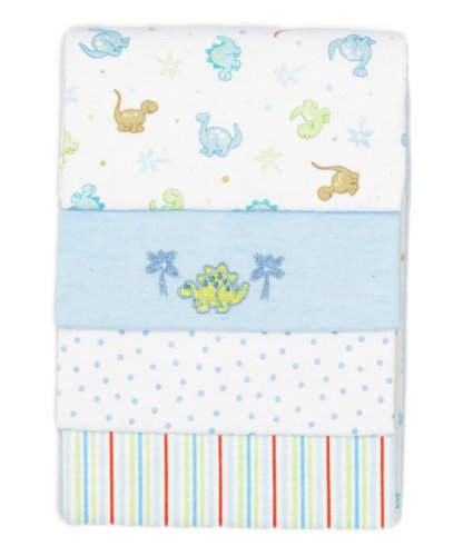 SpaSilk Baby Boy 4 Pack 100% Cotton Flannel Receiving Blanket, Blue, One Size