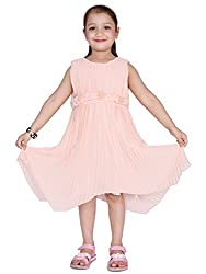 KASHANA Kids Poly-Georgette Frilled Light Pink Sleevless Girls Baby Kids Casual Dresses & Frocks