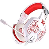 Kotion Each G1100 Over Ear Gaming Headphones With Mic, Multicolor LED And Vibration (White/Red)